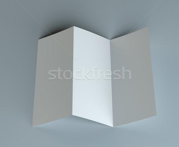Blank  tri fold mock-up flyer on gray background Stock photo © cherezoff
