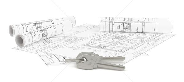 Sleutels blauwdruk nieuw huis 3D Stockfoto © cherezoff