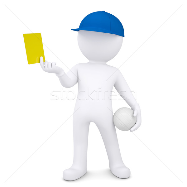 3d man with volleyball ball shows yellow card Stock photo © cherezoff