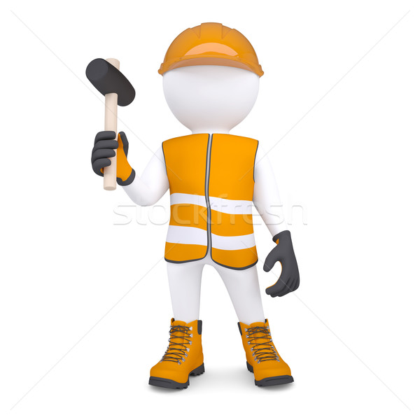 3d white man in overalls with a hammer Stock photo © cherezoff