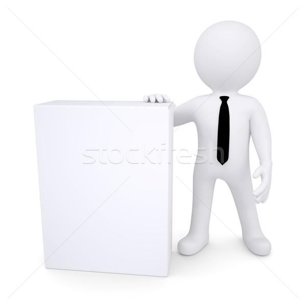 3d white man next to the white box Stock photo © cherezoff