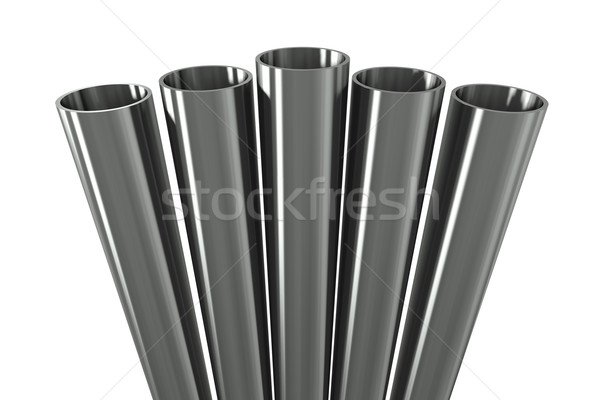 Stock photo: Group metal pipe on a white background