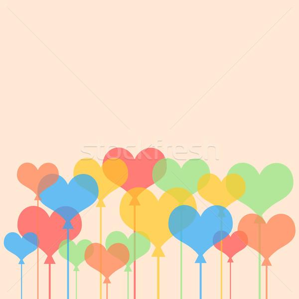 Soyut kalpler sevgililer günü duvar arka plan duvar kağıdı Stok fotoğraf © cherezoff