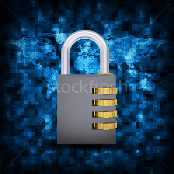 Binary code and combination lock Stock photo © cherezoff