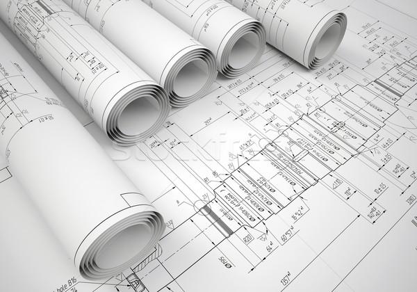 Verscheidene engineering tekeningen tekening bureau Stockfoto © cherezoff