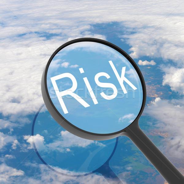 Сток-фото: увеличительное · стекло · глядя · риск · облака · бизнеса · свет