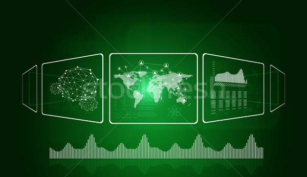 Rectangles, world map and network Stock photo © cherezoff