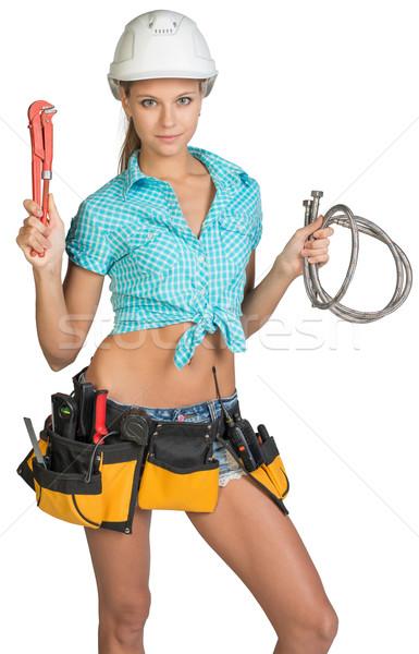 довольно девушки шлема шорты рубашку инструментом Сток-фото © cherezoff