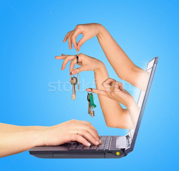 Tuşları parmaklar izlemek ekran eller Stok fotoğraf © cherezoff