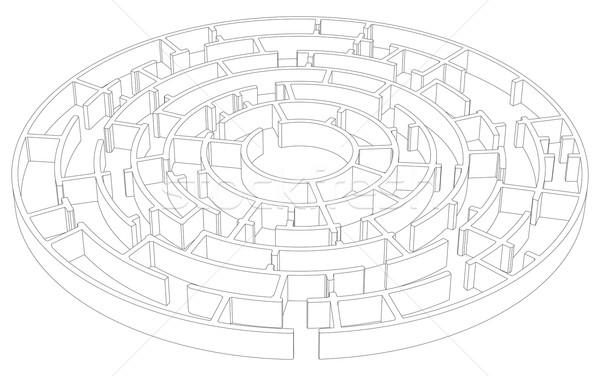 Wire-frame round tangled maze. Vector Stock photo © cherezoff