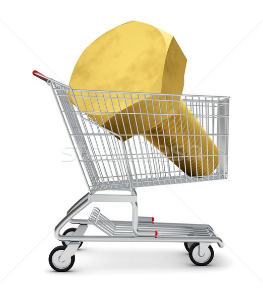 Schraube Warenkorb isoliert weiß Metall Laden Stock foto © cherezoff
