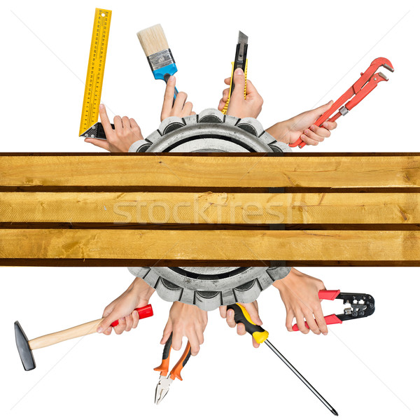 Humans hands holding different tools Stock photo © cherezoff