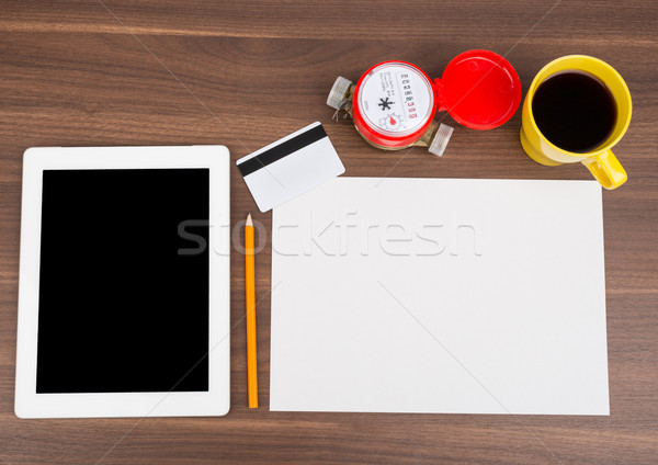 üres papír tabletta üres kártya fa asztal fa ceruza Stock fotó © cherezoff