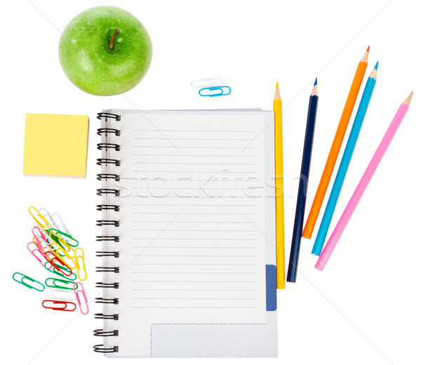 Otwarte notebooka materiały biurowe jabłko odizolowany biały Zdjęcia stock © cherezoff