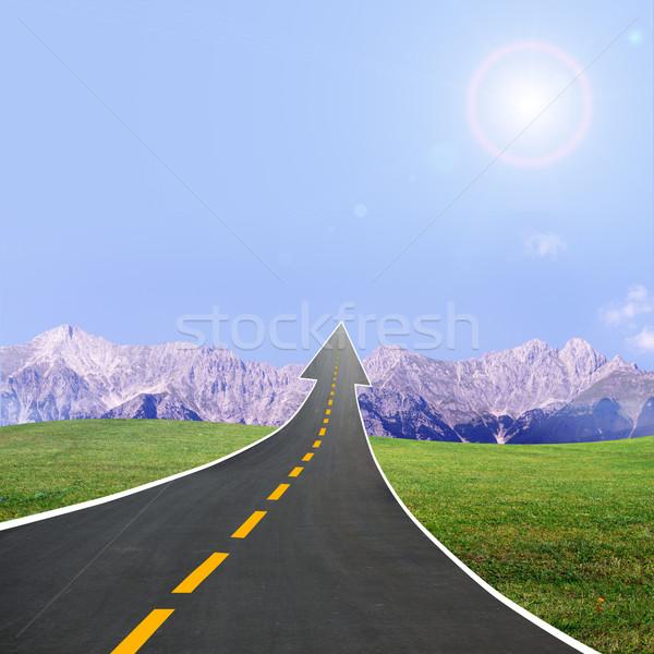 шоссе дороги вверх стрелка небе гор Сток-фото © cherezoff