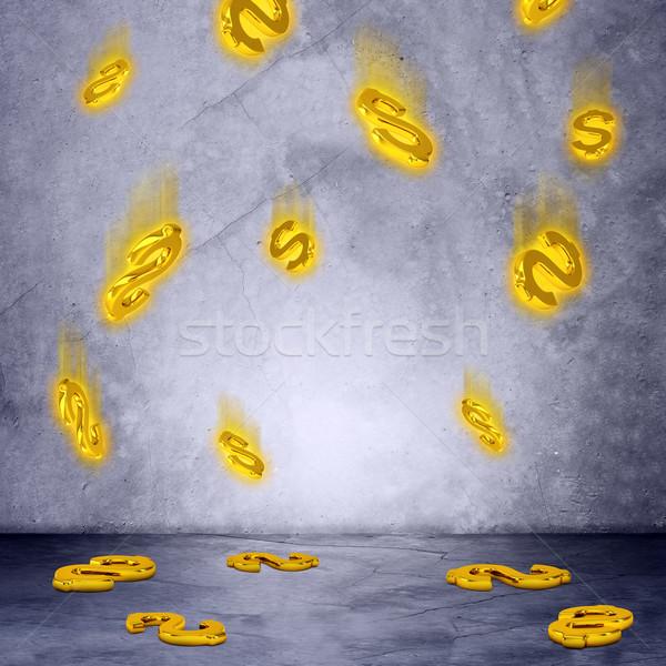 Deszcz znak dolara szary ściany ceny Zdjęcia stock © cherezoff