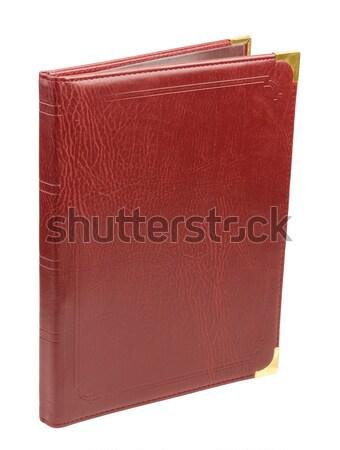Foto d'archivio: Rosolare · pelle · cartella · isolato · bianco · notebook