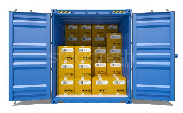 Abierto envío contenedor cartón cajas 3D Foto stock © cherezoff