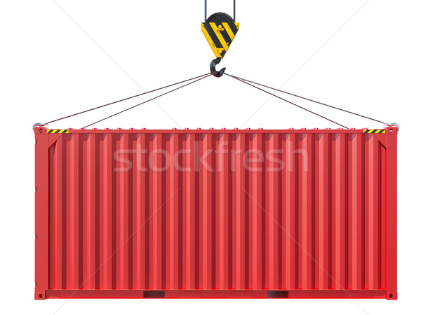 Crane hook lifts metal container Stock photo © cherezoff