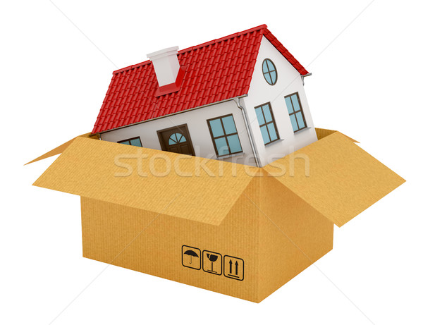 House with red roof in open cardboard box Stock photo © cherezoff
