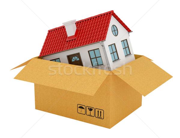 Ház piros tető nyitva kartondoboz izolált Stock fotó © cherezoff