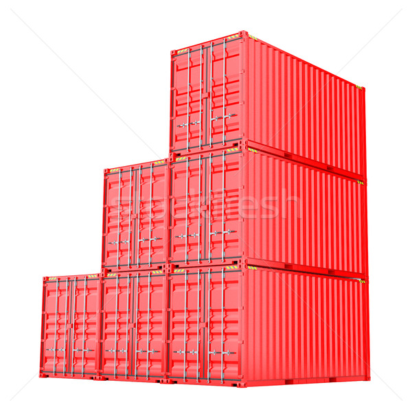 Stockfoto: Rood · vracht · witte · 3d · illustration · vrachtwagen