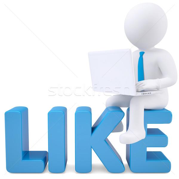 3D beyaz adam dizüstü bilgisayar oturma kelime gibi Stok fotoğraf © cherezoff