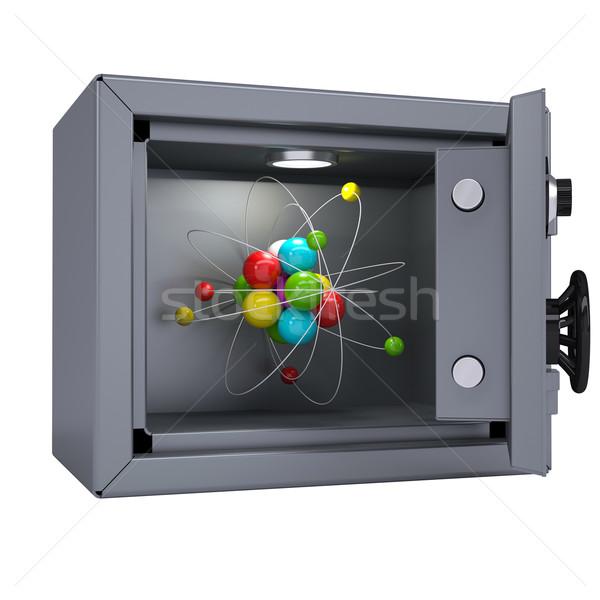 Stock fotó: Nyitva · fém · széf · megvilágított · lámpa · izolált