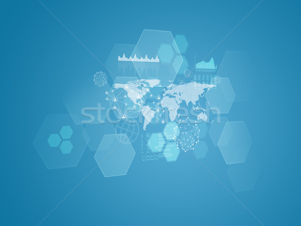 World map, transparent hexagons, graphs and network Stock photo © cherezoff