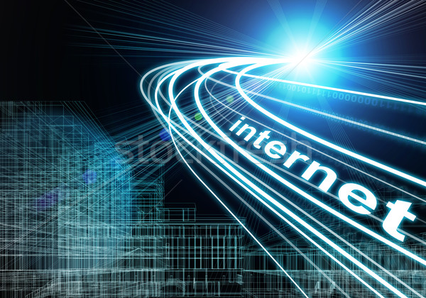 Wire-frame buildings, light beams, digits and word internet, on dark background  Stock photo © cherezoff