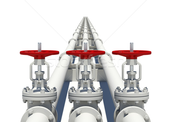 Three white pipes with valves Stock photo © cherezoff