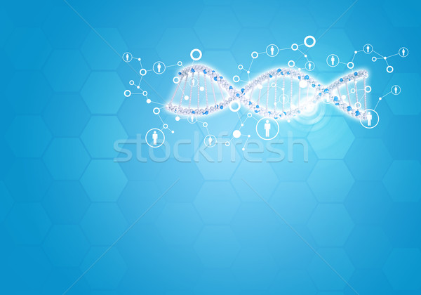 Unites all human gene DNA. Background with hexagon and information board Stock photo © cherezoff