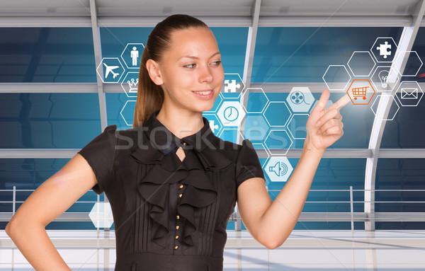 Kisajtolás holografikus képernyő ruha ikonok üveg Stock fotó © cherezoff