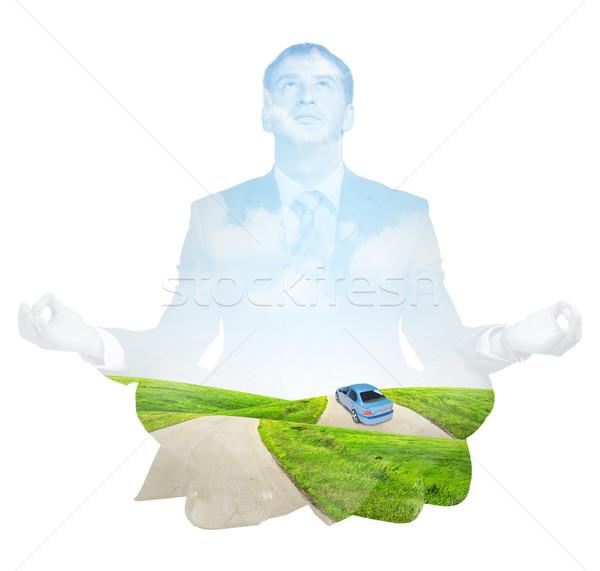 Transparent silhouette of businessman Stock photo © cherezoff