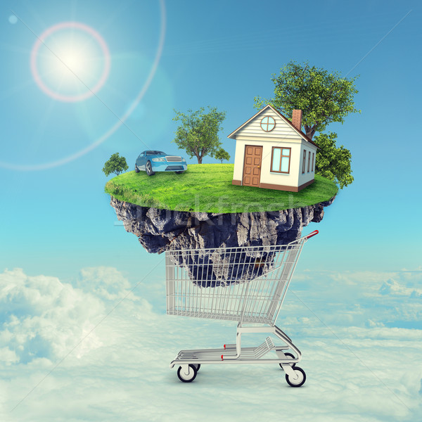 Сток-фото: дома · автомобилей · острове · Корзина · облака · здании