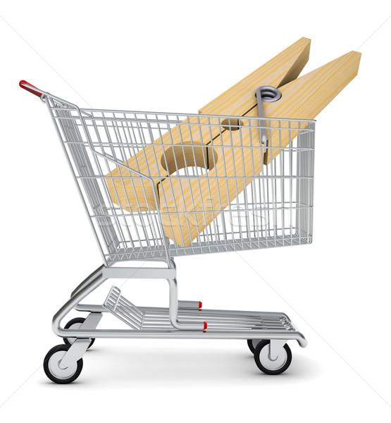 Ruházat szeg bevásárlókocsi izolált fehér fa Stock fotó © cherezoff