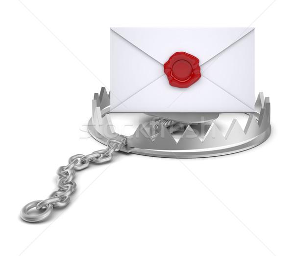 конверт несут ловушка изолированный белый Сток-фото © cherezoff