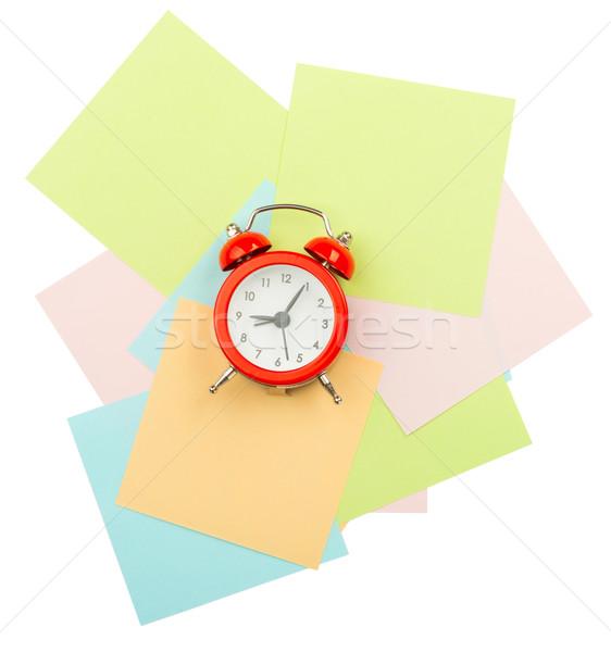 ébresztőóra matricák izolált fehér papír jegyzet Stock fotó © cherezoff