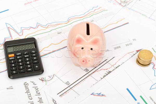 калькулятор Piggy Bank монетами бизнеса документы деньги Сток-фото © cherezoff