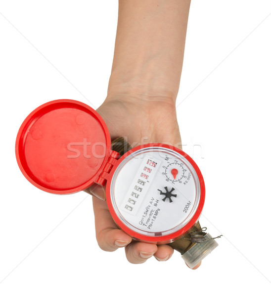 Humans hand holding red water meter Stock photo © cherezoff