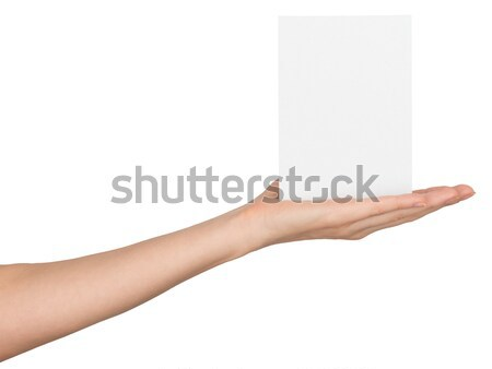 Womans hand with small empty card Stock photo © cherezoff