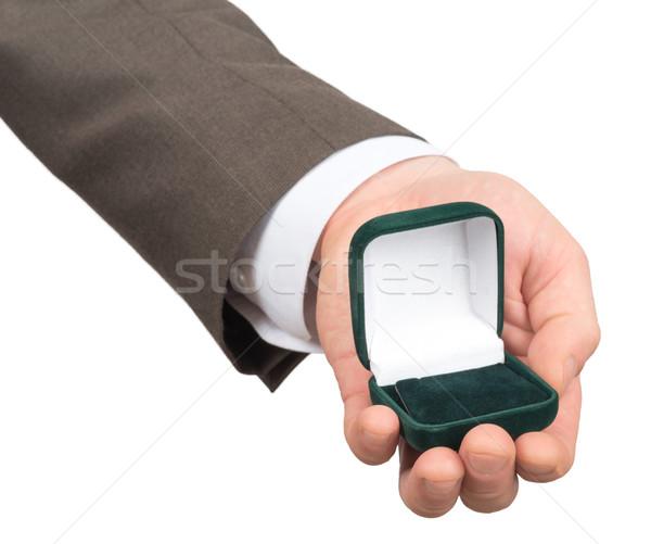 Nyitva üres gyűrű doboz kéz izolált Stock fotó © cherezoff