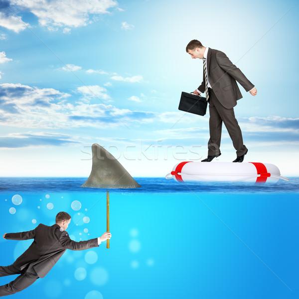 Naar beneden te kijken zee haai vin business zakenman Stockfoto © cherezoff