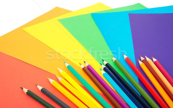 Crayons coloré papier isolé blanche Photo stock © cherezoff