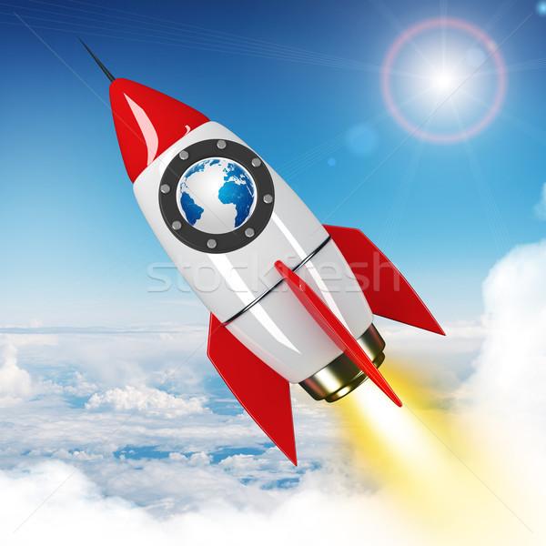 Stockfoto: Aarde · wereldbol · vliegen · hemel · raket