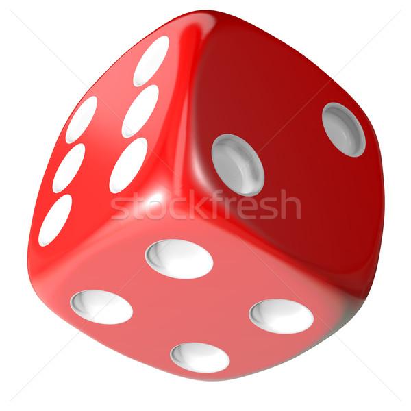Stockfoto: Rood · dobbelstenen · geïsoleerd · witte · 3d · illustration · casino