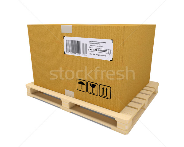 Cardboard container with wooden pallet Stock photo © cherezoff