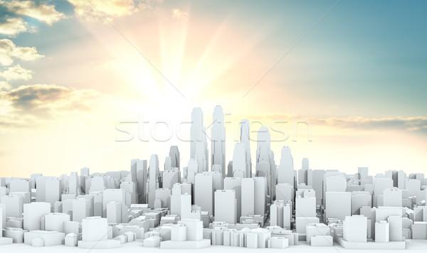 Branco cidade centro da cidade céu isolado ilustração 3d Foto stock © cherezoff
