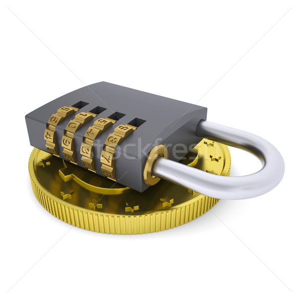 Golden Dollar and combination lock Stock photo © cherezoff