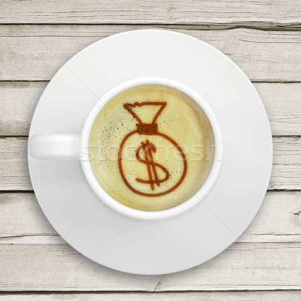 Picture of the bag of money in the coffee foam Stock photo © cherezoff